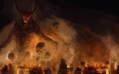 Demon attacking the city wallpaper