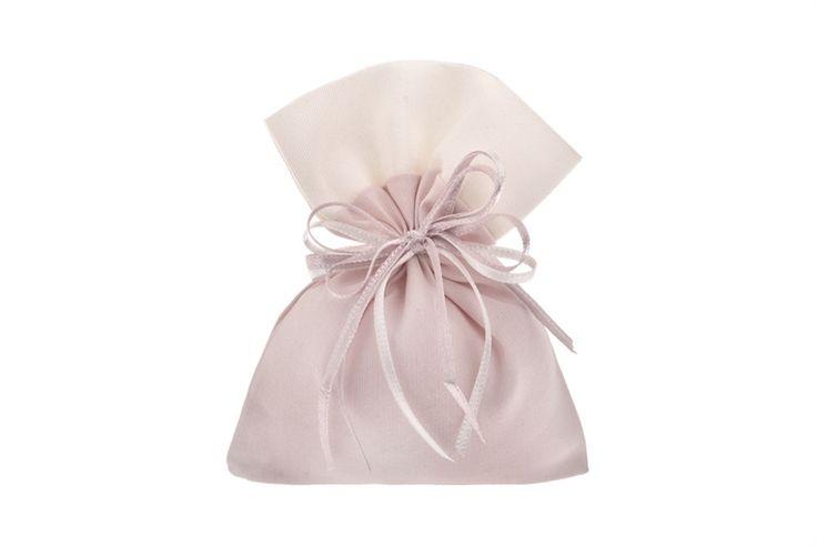 Bomboniera per Battesimo  Sacchetto 5 confetti Mandorla rigatino rosa