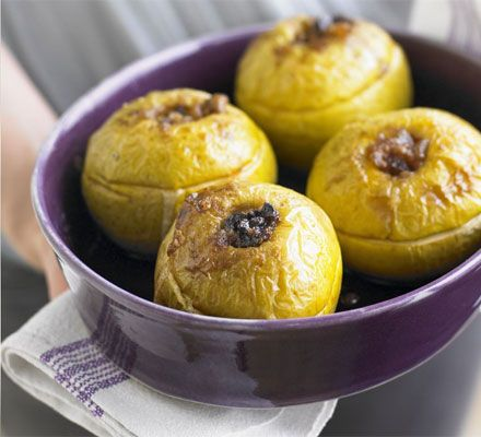 Baked apples with prunes, cinnamon & ginger. A simple, classic low-fat pudding to use up seasonal Bramleys