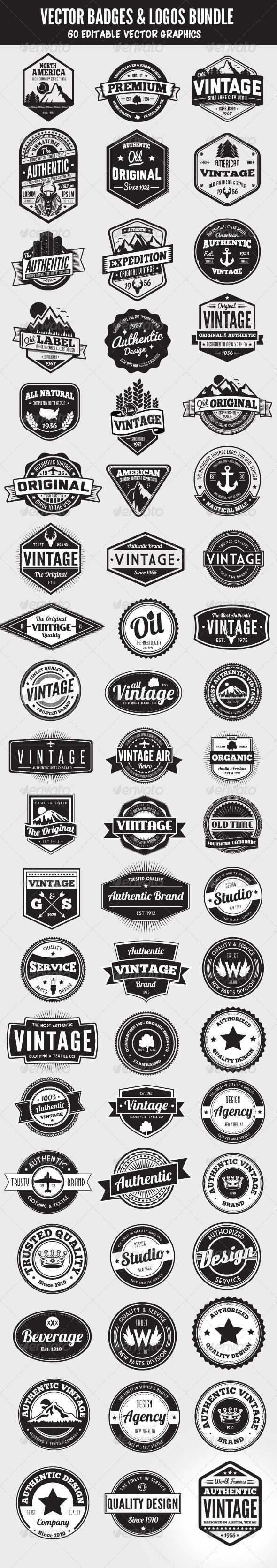 60 Badges and Logos Bundle