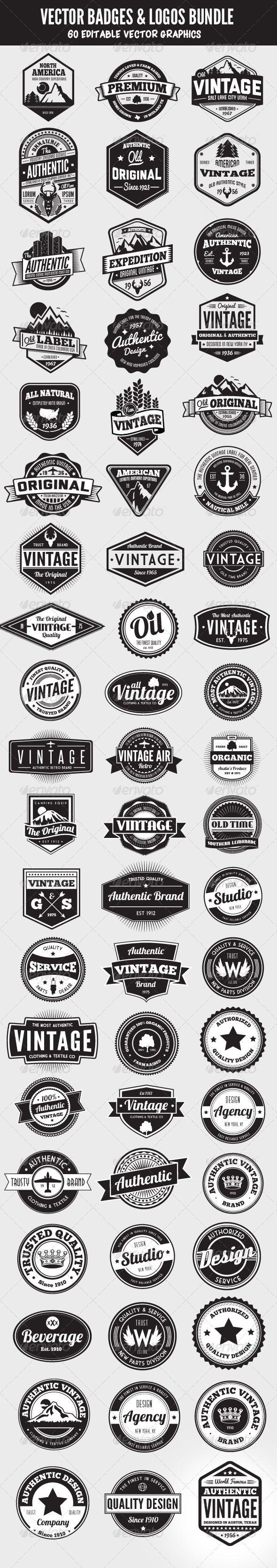 Heel veel 'vintage' logo's. Het komt steeds vaker terug tegenwoordig. Ik hou van de elementen die ze toevoegen aan de woorden. Bergen, cirkels. Erg stijlvol
