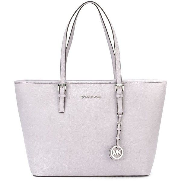 Michael Michael Kors Jet Set Travel Small Tote Bag ($270) ❤ liked on Polyvore featuring bags, handbags, tote bags, lilac, handbags totes, leather handbags, leather handbag tote, genuine leather tote and white tote bag