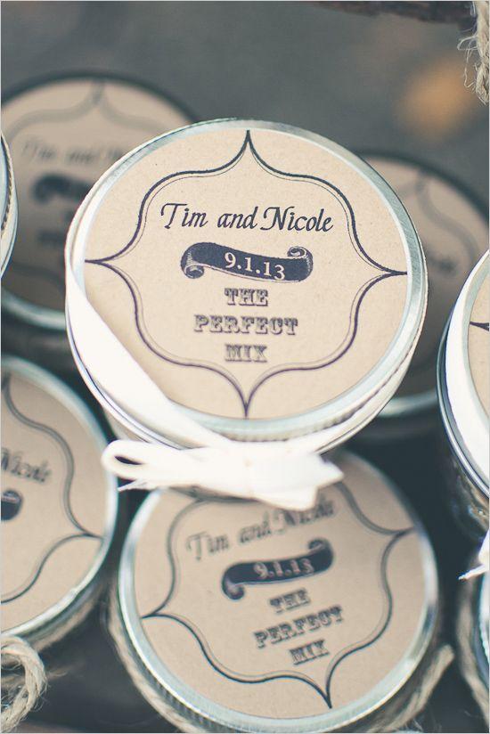 "Mini mason jar favors with trail mix, ""The Perfect Mix"". ---> http://www.weddingchicks.com/2014/05/12/northern-california-farm-wedding/"