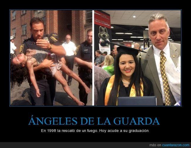 Historias que muestran que los ángeles de la guarda existen - En 1998 la rescató de un fuego. Hoy acude a su graduación