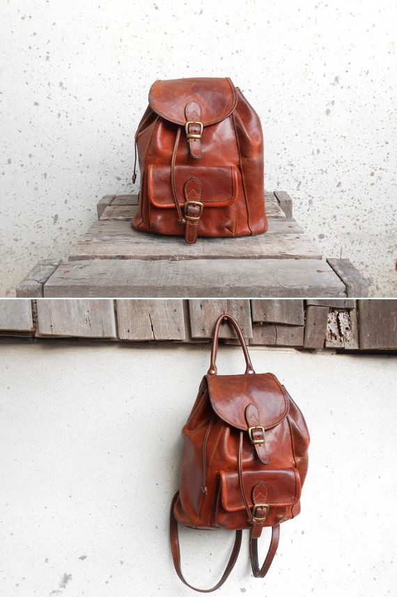 Vintage Chesnut Brown Leather Backpack // Leather by VindicoShop, $68.00