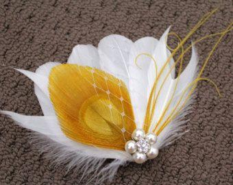 Mariée blanc paon jaune moutarde plume perle strass bijou Veiling cheveux Clip Fascinator accessoire de mariage