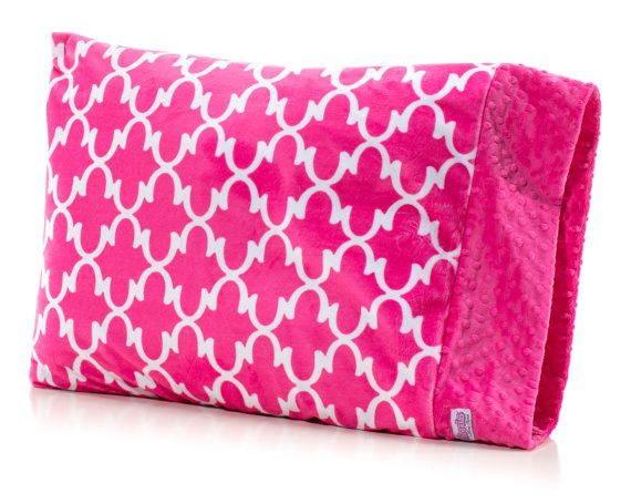 Pink Lattice Girl Pillowcase, Twin Bedding, Hot Pink and White. Only $24.00 with FREE Name Embroidery on edge!
