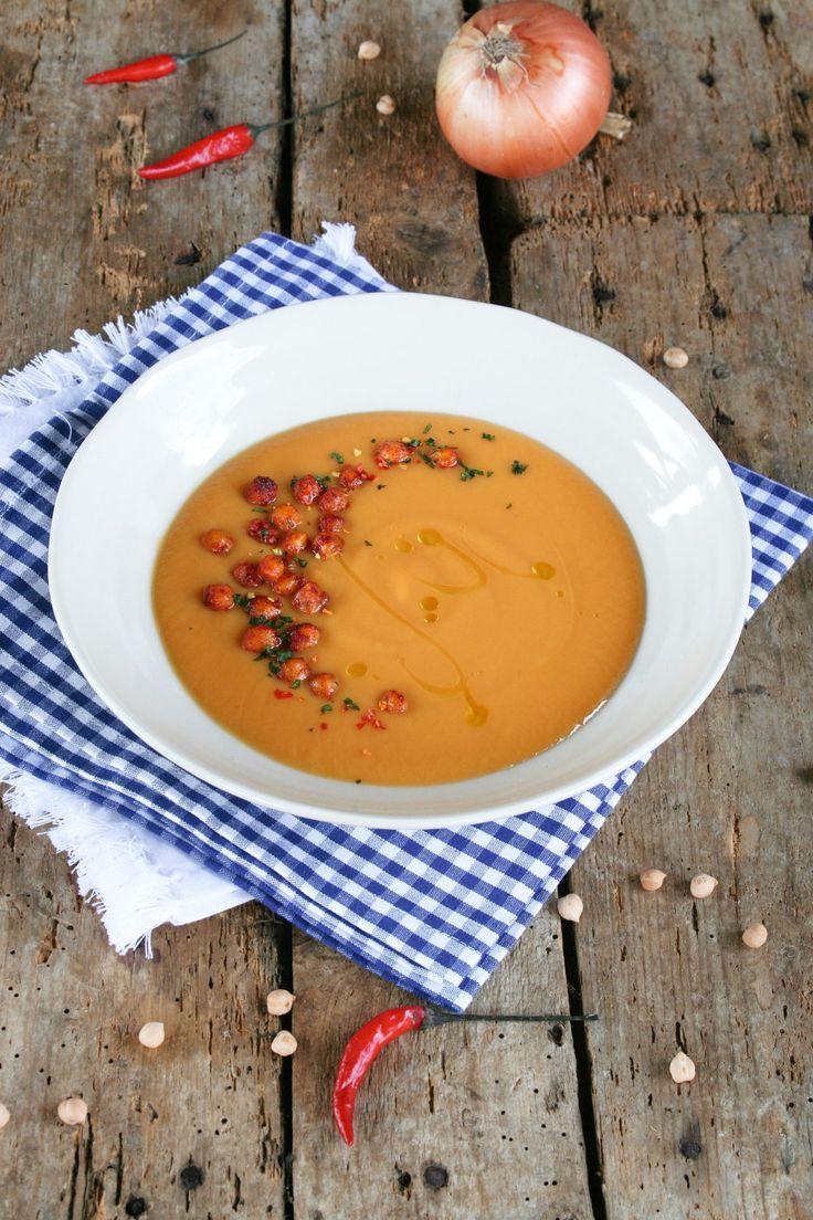 Sweet potatoes creamy soup with coconut cream
