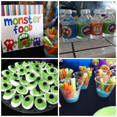 "monster party, blue ""slime"" ranch, monster eyeball eggs, themed food. Popular with the Poplins"