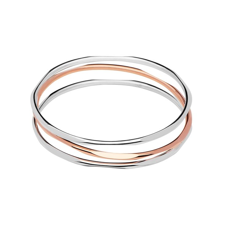 20/20 Sterling Silver & 18kt Rose Gold 3 Loop Bangle from Links of London | Bracelets for women