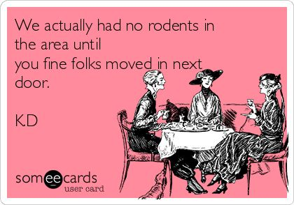 We actually had no rodents in the area until you fine folks moved in next door. K.D