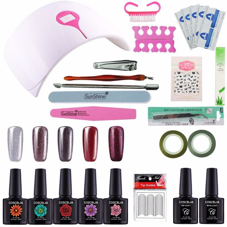 Kit Nail Gel Manicure Set 24W Dryer Nail Art Set Kits Manicura Primer Topcoat and Base 10 ML UV Gel Nail Polish Sets