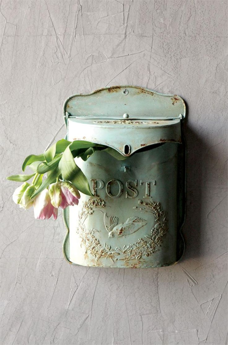 Metal Wall Mounted Post Mailbox-Aqua -- farmhouse wares