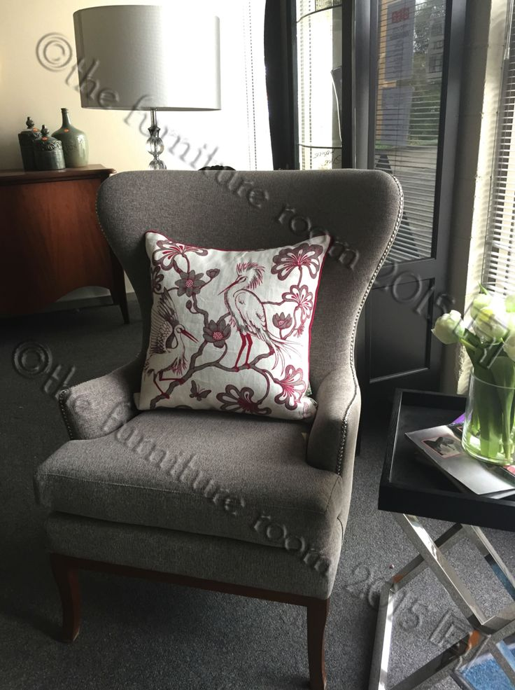 In Store NOW   We love this Florence Broadhurst cushion on our beautiful Firenze Wingback Chair. Could you imagine this in a cosy reading corner of your study or bedroom, or even as a feature of your lounge room? With the ability to customise size, shape, fabrics and finishes, the options are endless. #FurnitureRoom #FlorenceBroadhurst #GetTheLookWithFurnitureRoom #AustralianMade #ItalianMade #BespokeFurnitureSpecialists