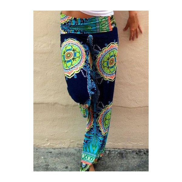 Rotita Tribal Exuma Pants Fold Over Palazzo Pants ($21) ❤ liked on Polyvore featuring pants, multi color, foldover palazzo pants, stretch waist pants, straight pants, palazzo trousers and tribal pants