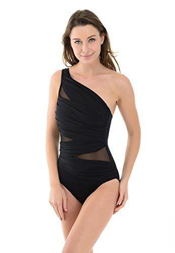 cool La Isla Damen Einteiliger Badeanzug Bademode mit Asymmetrischer Schulterpartie