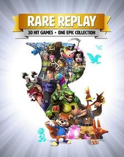 "Portrait-oriented cover art with gradient from white to gray outward from the center with explosive/glare streaks. Atop is a golden banner with ""RARE REPLAY"" emblazoned in white, and below it, a smaller gray banner with black text: ""30 HIT GAMES · ONE EPIC COLLECTION"". In the center and occupying most of the image is a large cutout of the company's R rotunda logo, out of which come characters from the series, including Joanna Dark, Banjo and Kazooie, Conker, Sabreman, a piñata, and many…"