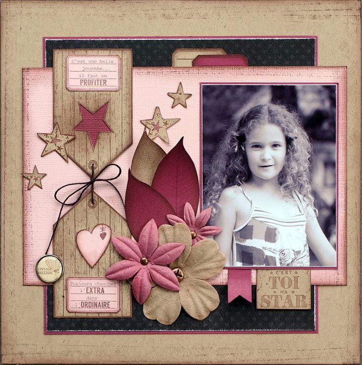 Bonjour, voici deux pages complètement différentes, une féminine toute en rose avec une photo d'Éloïse prise cet été et une masculine rouge et bleue avec une &vieille& photo de Thomas. des pages avec les nouveaux tampons Florilèges Design sortis en octobre...
