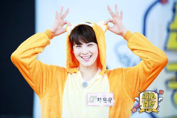 Eunwoo wearing costume @ Fan Heart Attack Idol TV <so appropriate name! >