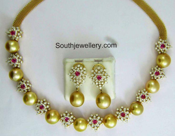Diamond South Sea Pearls Necklace