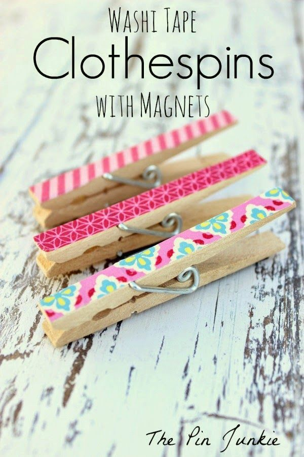 Magnetic washi tape clothespins