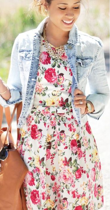 Floral and denim! Big time cute and attractive www.adealwithGodbook.com