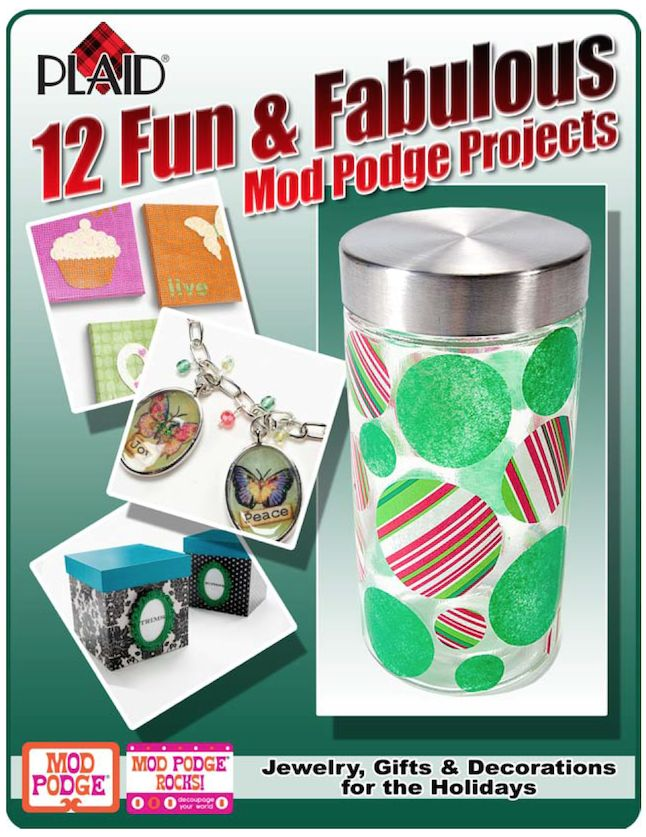 12 fun and fabulous Mod Podge DIY projects e-book - sign up here and get 12 craft ideas free! Learn how to decoupage on paper, glass, canvas, wood, and more.