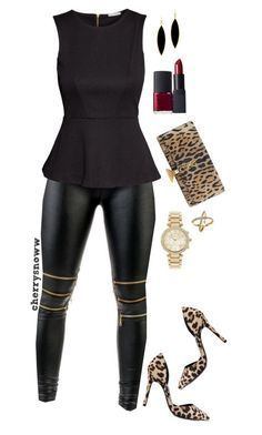 """""""Black and leopard sassy outfit"""" by cherrysnoww ❤ liked on Polyvore featuring H&M, Rivka Friedman, Nly Shoes, Yves Saint Laurent, Michael Kors and NARS Cosmetics"""