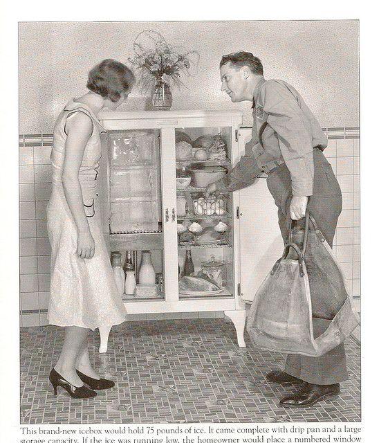 1920's icebox. House dress and heels. Egg delivery man? Linoleum. Bottled milk.