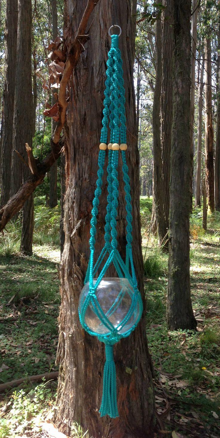 Macramé Hanging Basket - Turquoise www.knotsandbrushes.com.au