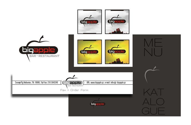 "by Argiro Stavrakou, year 2004, ""Big Apple"" bar - restaurant logo, B. cards, menu cover and fax header."