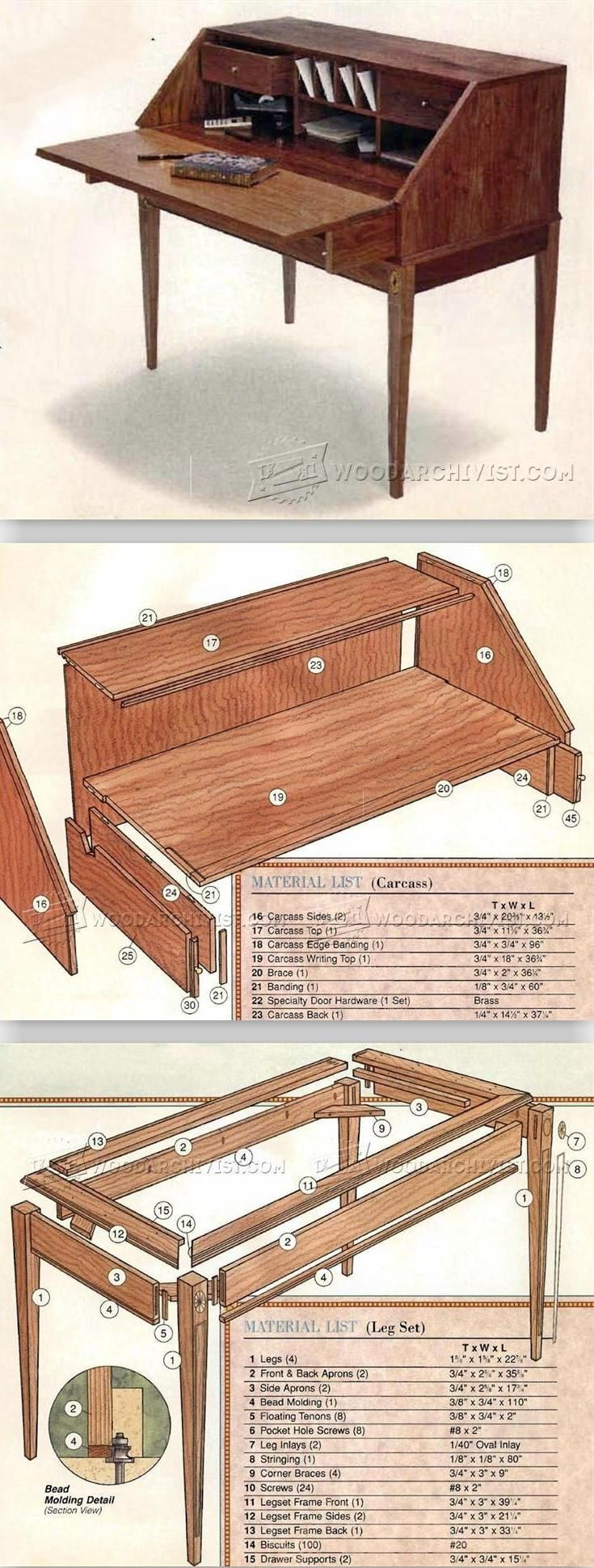 Federal secretary desk plans furniture plans and for Muebles inteligentes