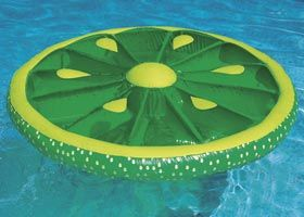 Fruit Slice Inflatable Island-- these are by far the best rafts! Comes in lime, orange, and lemon slices. The pool looks like a punch bowl!