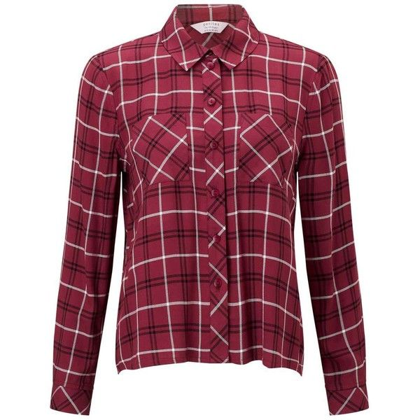 Miss Selfridge PETITE Burgundy Check Shirt ($53) ❤ liked on Polyvore featuring tops, burgundy, petite, purple checked shirt, checkered pattern shirt, petite shirts, checkered shirt and miss selfridge