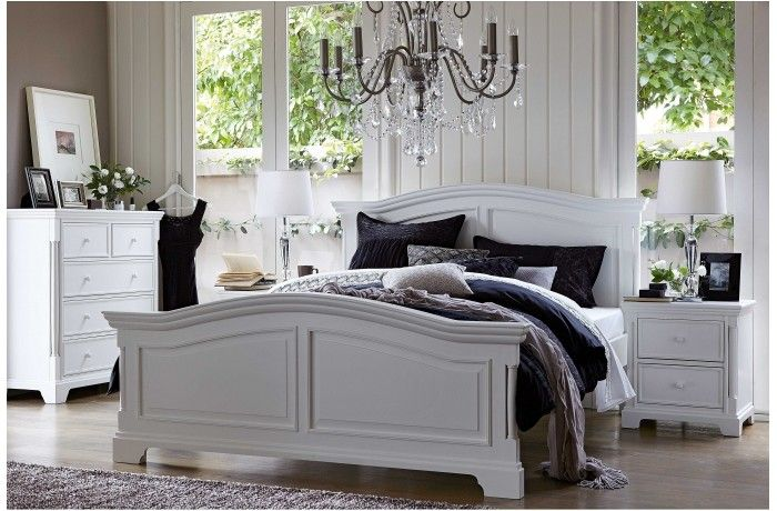 Riviera Queen Bed- i think this chandelier could be higher but sill cute