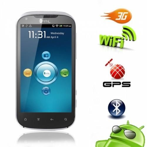 """4.3 Touch Screen    Wifi Smart Phone    Cell Phones 82008980 ThL V9 4.3"""" Touch Screen Android 2.3 Dual SIM 3G GPS Wifi Smart Phone White 196.76 393.5 275.5 194.8 This phone has a Dual SIM, touch screen, GSM Quad Band, 512 MB Memory, 4.3 inch TFT screen, Android 2.3 OS, 1GHz CPU and WiFi."""