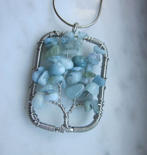 Tree of life aquamarine tree of life aqua chip wire worked silver aqua pendant aqua jewelry aqua necklace free silver chain clearance by arts and adornments