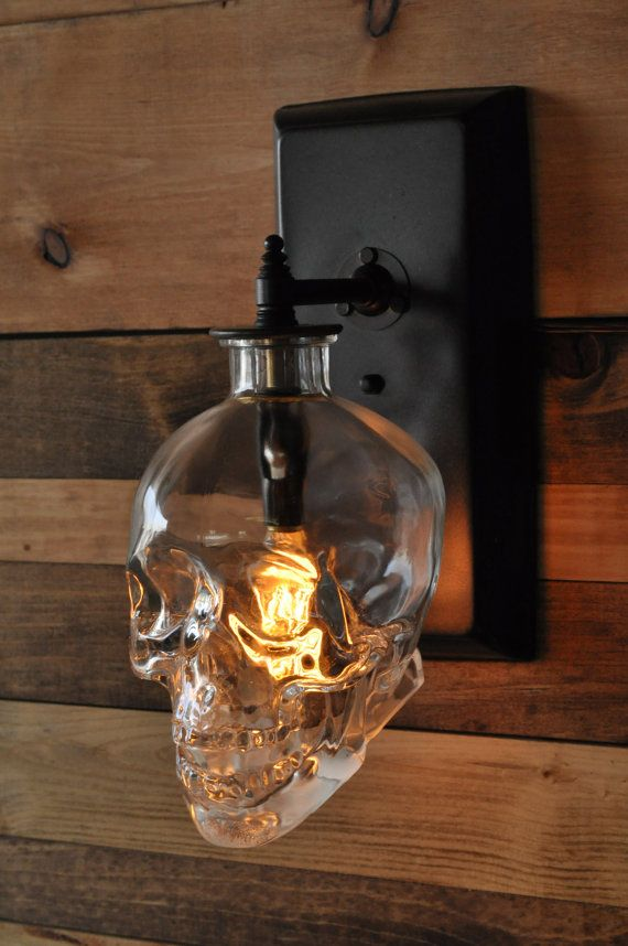 Skull Wall Sconce - Crystal Head Vodka - Awesome - I'm gonna go home and see if mine fits on the back porch light!!!!!