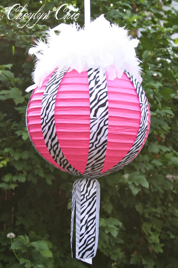 Hot Pink and Zebra Stripe Ribbon and Feathers Paper Lanterns Large. $40.00, via Etsy.