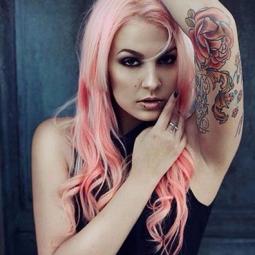 perfect pink hair, lip piercings, tattoo