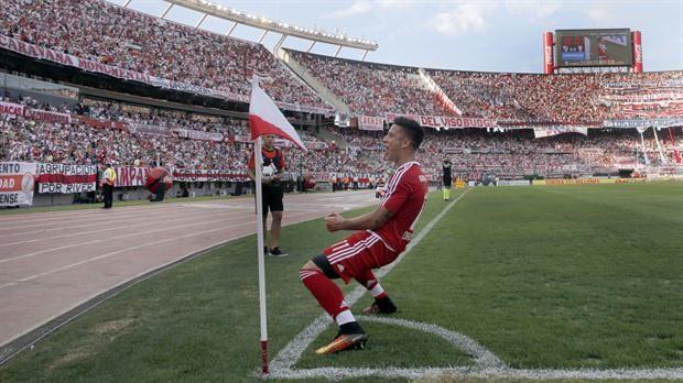 Sebastián Driussi, el goleador de River en el semestre, anotó otro tanto decisivo, esta vez para vencer a Huracán