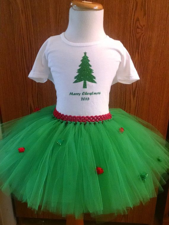 Christmas Outfit - Christmas Outfit for Babies and Toddlers - Christmas Outfit for Girls - Tutu and Matching Christmas Shirt -Christmas 2015