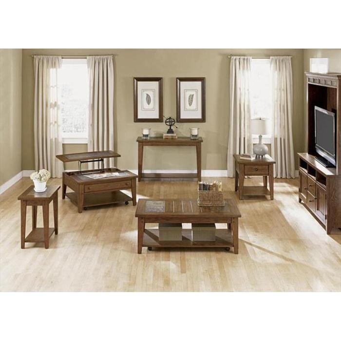 Hearthstone Sofa Table in Rustic Oak | Nebraska Furniture Mart