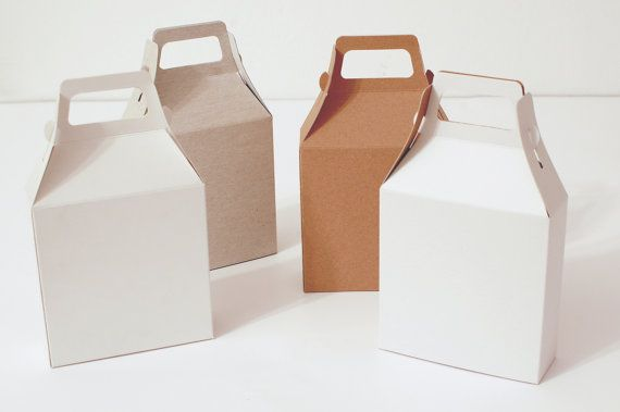 16 White, Gray and Kraft Natural Gable Gift Box 4.21x4.33x1.45 I Handle boxes, gable boxes, packaging, presentation box, card stock boxes
