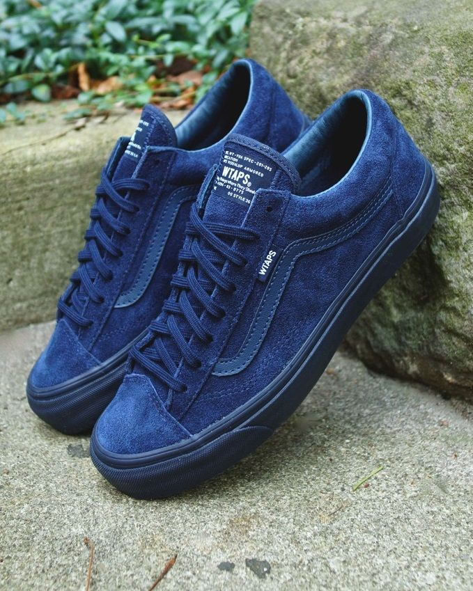 OMG BLUE! I MUST HAVE THESE! Classic Vans, updated styling, blue laces for a perfect monochrome look. Great with a light denim or khakis. WTAPS x Vans OG Style 36 LX: Blue