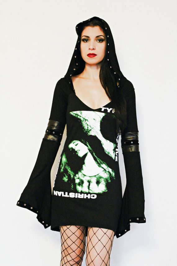 Type O Negative shirt Hoodie hooded tunic top altered band tee t-shirt dark style fashion