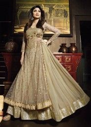 Party Wear Georgette Cream Antique Work Gown
