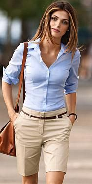 Preppy blue blouse with beige shorts