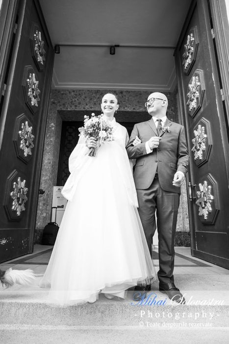 Wedding in Paris: Dana & Olivier. Leaving the church after the religious ceremony. Beautiful bride and groom.