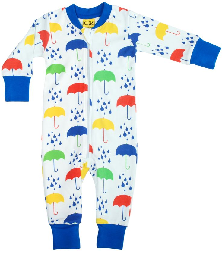 White Umbrellas Organic Cotton Zipper Suit. From DUNS Sweden, offered by Modern Rascals.
